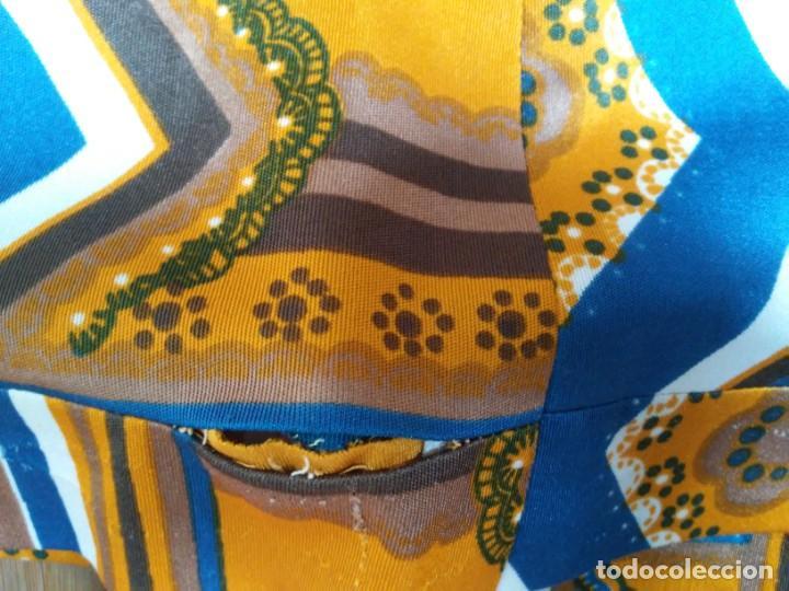 Vintage: Vestido de tablas estampado retro vintage Color azul y naranja Hecho a mano Defectuoso Talla grande - Foto 33 - 194206266
