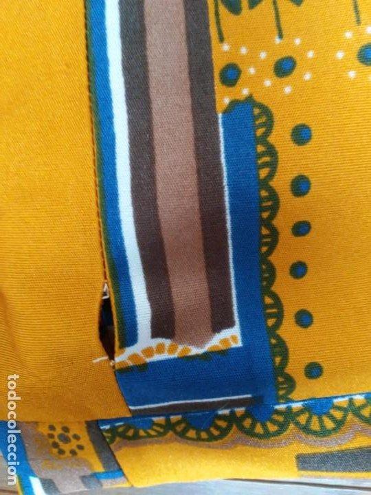 Vintage: Vestido de tablas estampado retro vintage Color azul y naranja Hecho a mano Defectuoso Talla grande - Foto 34 - 194206266
