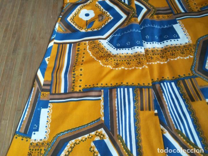 Vintage: Vestido de tablas estampado retro vintage Color azul y naranja Hecho a mano Defectuoso Talla grande - Foto 35 - 194206266