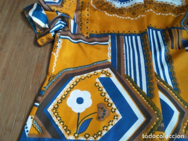 Vintage: Vestido de tablas estampado retro vintage Color azul y naranja Hecho a mano Defectuoso Talla grande - Foto 37 - 194206266
