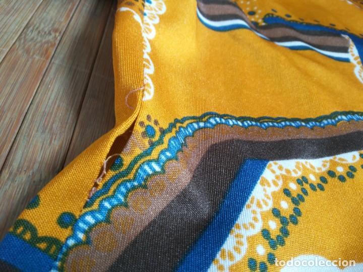 Vintage: Vestido de tablas estampado retro vintage Color azul y naranja Hecho a mano Defectuoso Talla grande - Foto 38 - 194206266