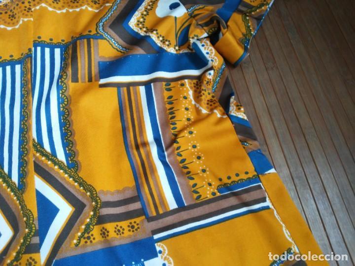 Vintage: Vestido de tablas estampado retro vintage Color azul y naranja Hecho a mano Defectuoso Talla grande - Foto 39 - 194206266
