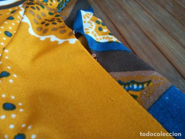 Vintage: Vestido de tablas estampado retro vintage Color azul y naranja Hecho a mano Defectuoso Talla grande - Foto 40 - 194206266