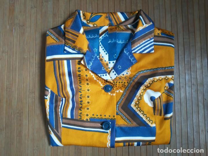 Vintage: Vestido de tablas estampado retro vintage Color azul y naranja Hecho a mano Defectuoso Talla grande - Foto 42 - 194206266