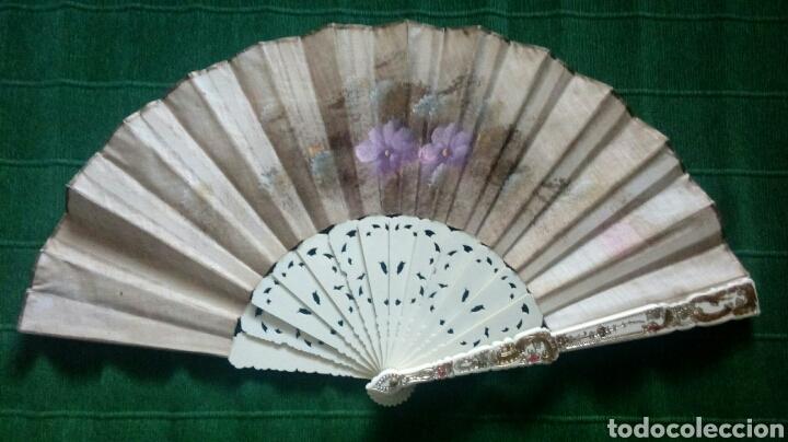 Vintage: Abanico pintado a mano doble cara 43cm - Foto 2 - 194243533