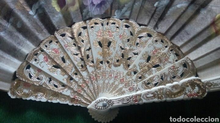 Vintage: Abanico pintado a mano doble cara 43cm - Foto 3 - 194243533