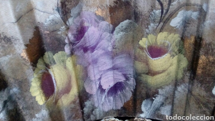 Vintage: Abanico pintado a mano doble cara 43cm - Foto 4 - 194243533