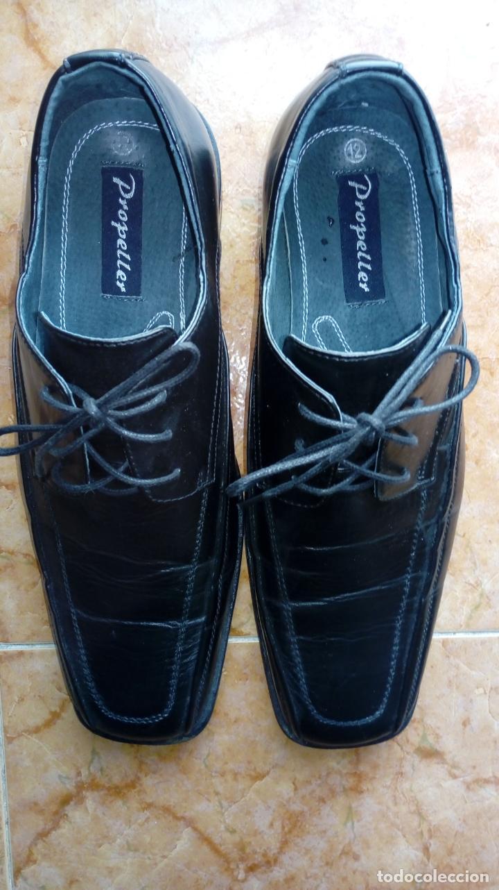 Vintage: Zapatos negros de puntera cuadrada marca Propeller. Puestos una vez. Talla 46 (Talla 12 UK) - Foto 2 - 194312180
