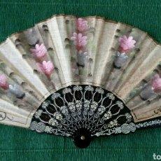 Vintage: ABANICO DE TELA PINTADO A MANO 33CM. Lote 194597992