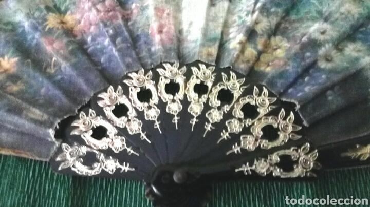Vintage: Abanico de tela decorado 22cm - Foto 2 - 194612570