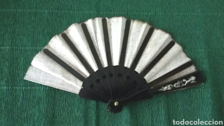 Vintage: Abanico de tela decorado 22cm - Foto 3 - 194612570