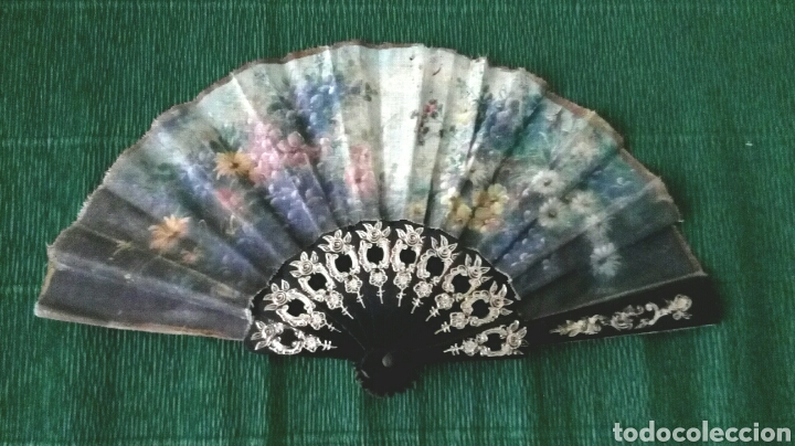ABANICO DE TELA DECORADO 22CM (Vintage - Moda - Complementos)