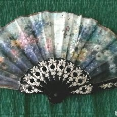 Vintage: ABANICO DE TELA DECORADO 22CM. Lote 194612570