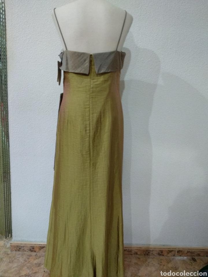 Vintage: Liquidación tienda. Vestido largo verde tornasolado. Talla 42. DOrsay. Nuevo - Foto 2 - 194639178
