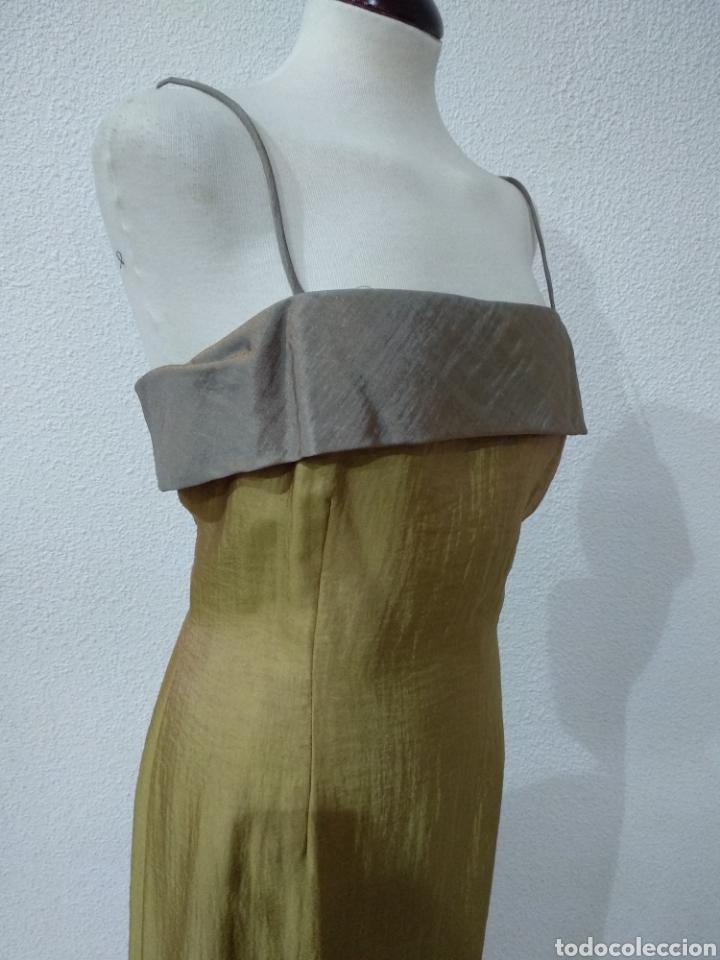 Vintage: Liquidación tienda. Vestido largo verde tornasolado. Talla 42. DOrsay. Nuevo - Foto 6 - 194639178