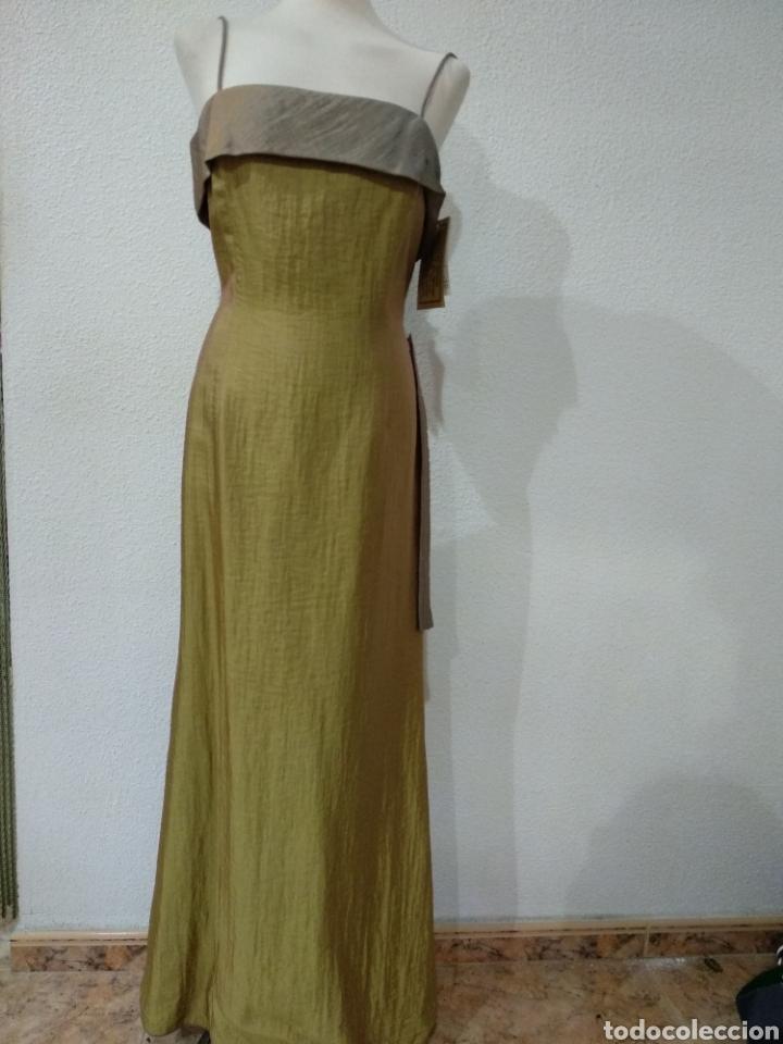 LIQUIDACIÓN TIENDA. VESTIDO LARGO VERDE TORNASOLADO. TALLA 42. D'ORSAY. NUEVO (Vintage - Moda - Mujer)