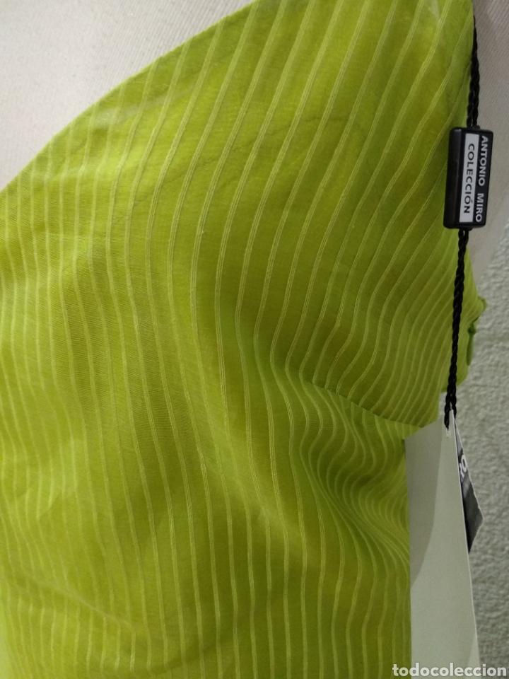 Vintage: Liquidación tienda. Vestido largo verde seda. Talla 42. dOrsay. Nuevo - Foto 2 - 194639815