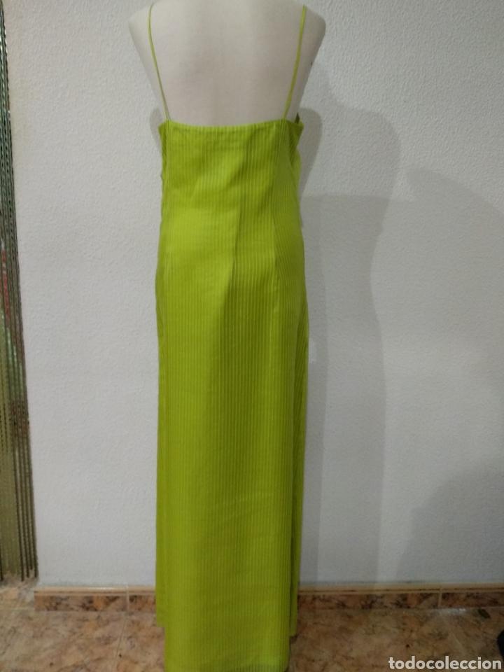 Vintage: Liquidación tienda. Vestido largo verde seda. Talla 42. dOrsay. Nuevo - Foto 3 - 194639815