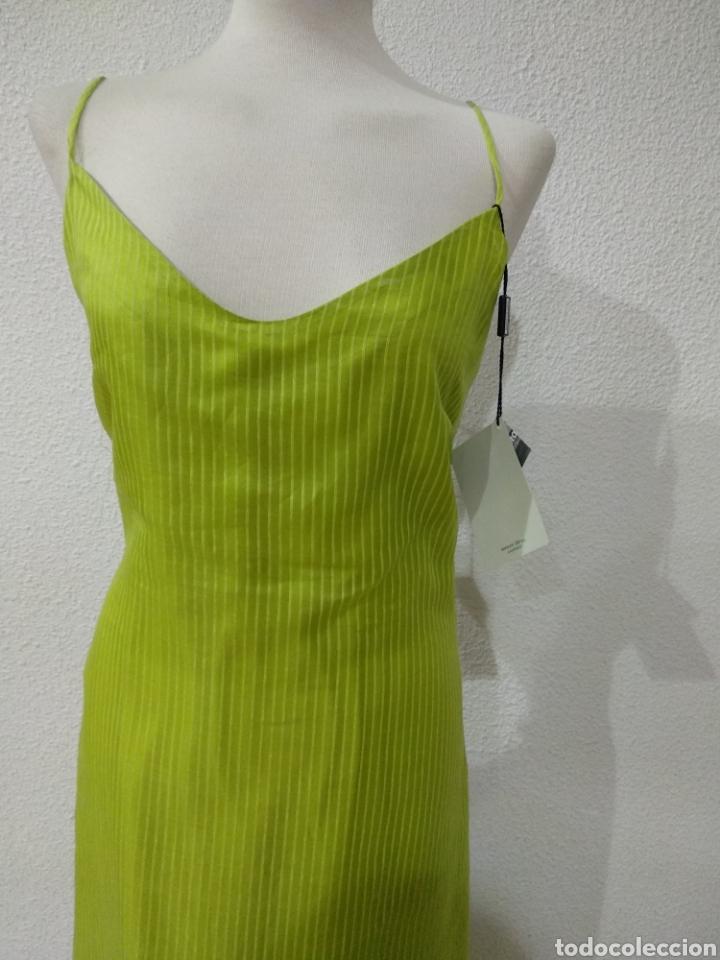 Vintage: Liquidación tienda. Vestido largo verde seda. Talla 42. dOrsay. Nuevo - Foto 4 - 194639815