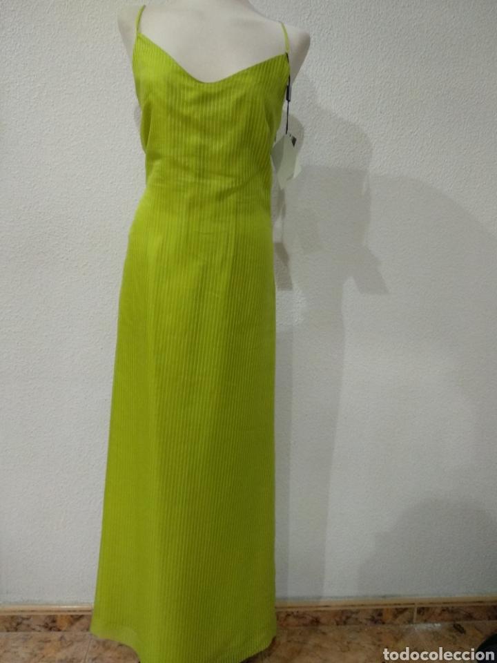 Vintage: Liquidación tienda. Vestido largo verde seda. Talla 42. dOrsay. Nuevo - Foto 5 - 194639815