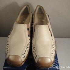 Vintage: ZAPATOS MOCASÍN DE VESTIR. COLOR BEIGE Y ORO. Nº 36 MARCA: JENNY-ARA. NUEVOS.. Lote 195398671