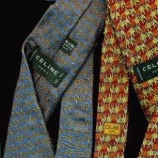 Vintage: 2 CORBATAS DE CÉLINE EN SEDA NATURAL. Lote 196922526