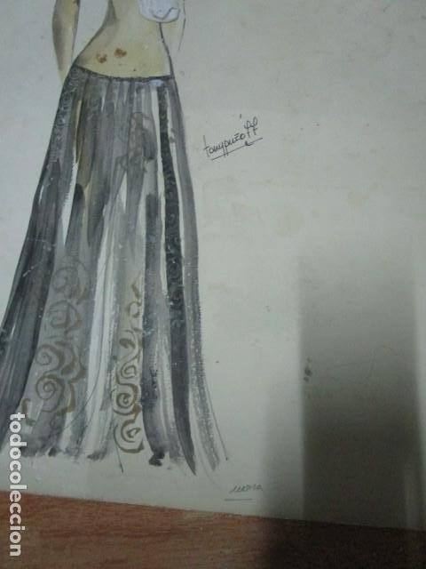 Vintage: ALICANTE dibujo acuarela antiguA vestido MODELO cuentos prohibidos firma A PEREZ alta costura - Foto 4 - 194624790