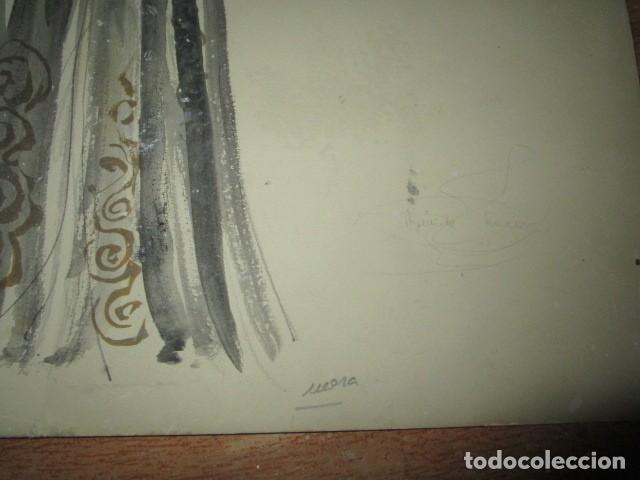 Vintage: ALICANTE dibujo acuarela antiguA vestido MODELO cuentos prohibidos firma A PEREZ alta costura - Foto 5 - 194624790