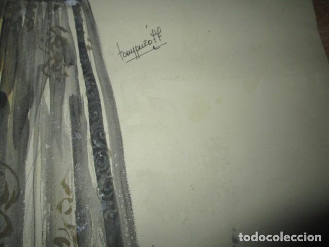 Vintage: ALICANTE dibujo acuarela antiguA vestido MODELO cuentos prohibidos firma A PEREZ alta costura - Foto 6 - 194624790