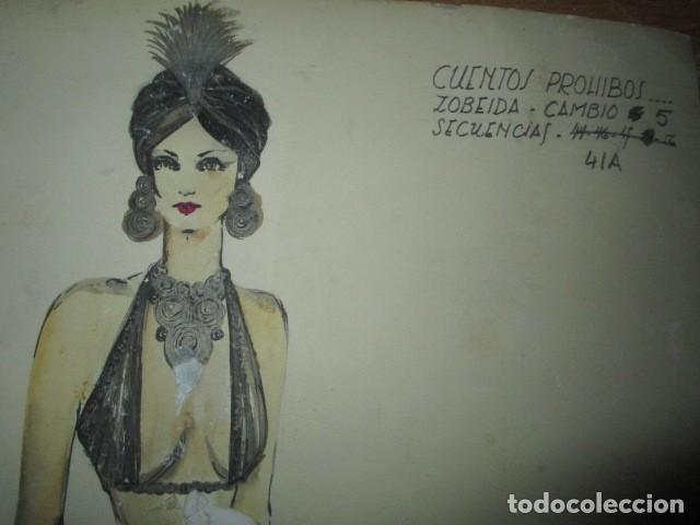 Vintage: ALICANTE dibujo acuarela antiguA vestido MODELO cuentos prohibidos firma A PEREZ alta costura - Foto 7 - 194624790