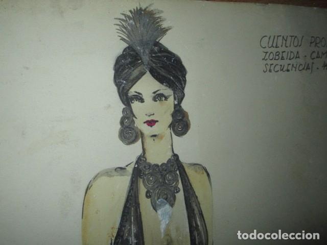 Vintage: ALICANTE dibujo acuarela antiguA vestido MODELO cuentos prohibidos firma A PEREZ alta costura - Foto 9 - 194624790