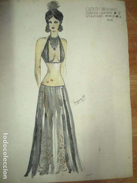 ALICANTE DIBUJO ACUARELA ANTIGUA VESTIDO MODELO CUENTOS PROHIBIDOS FIRMA A PEREZ ALTA COSTURA (Vintage - Moda - Mujer)
