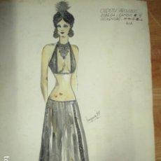 Vintage: ALICANTE DIBUJO BOCETO ACUARELA ANTIGUA VESTIDO MODELO CUENTOS PROHIBIDOS AÑOS 70 FIRMA A PEREZ. Lote 194624790