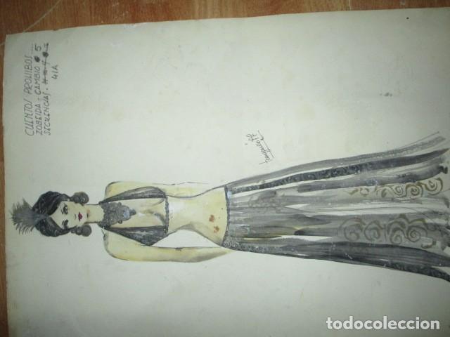 Vintage: ALICANTE dibujo acuarela antiguA vestido MODELO cuentos prohibidos firma A PEREZ alta costura - Foto 10 - 194624790