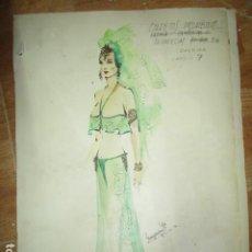 Vintage: DIBUJO BOCETO ORIGINAL ACUARELA ANTIGUO VESTIDO CUENTOS PROHIBIDOS FIRMADO EN 1977 ALICANTE. Lote 194624930