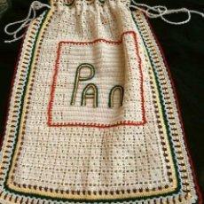 Vintage: ANTIGUA BOLSA DE PAN HECHA A MANO DE GANCHILLO - TAMAÑO 57 X 41 CM- PROCEDENCIA: BURGO DE OSMA SORIA. Lote 201193790