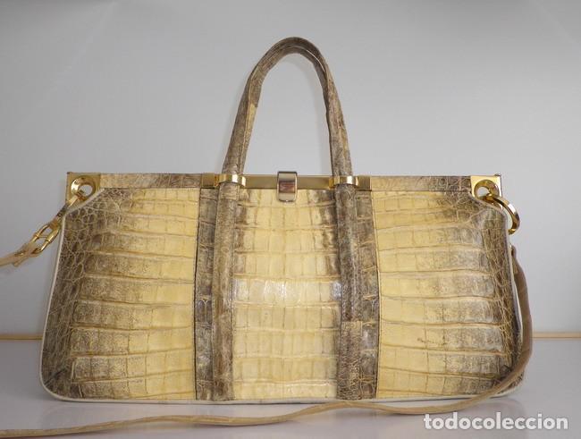 GRAN BOLSO EN GENUINA PIEL DE COCODRILO HIMALAYAN (Vintage - Moda - Complementos)
