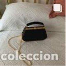 Vintage: BOLSO VINTAGE COMPLETAMENTE NUEVO A ESTRENAR DE ANTE COLOR NEGRO-ORO. Lote 206141303