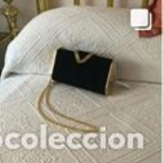 Vintage: BOLSO VINTAGE COMPLETAMENTE NUEVO A ESTRENAR DE ANTE COLOR NEGRO-ORO. Lote 206141305