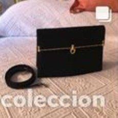 Vintage: BOLSO VINTAGE COMPLETAMENTE NUEVO A ESTRENAR DE ANTE COLOR NEGRO-ORO. Lote 206141357