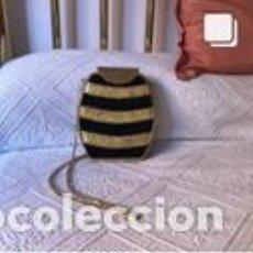 Vintage: BOLSO VINTAGE COMPLETAMENTE NUEVO A ESTRENAR DE ANTE Y NAPA RIZADA COLOR NEGRO-ORO. Lote 206141398