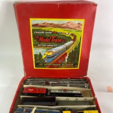 Vintage: TREN LARGE MODEL TRAIN SET. BATTERY OPERATED. COMPLETO.. Lote 206322400