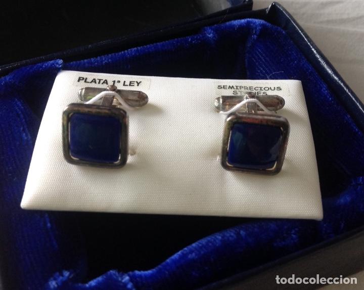 Vintage: Gemelos en plata de ley, con piedras semipreciosas. Elegantes. Nuevos, sin uso - Foto 2 - 207037745