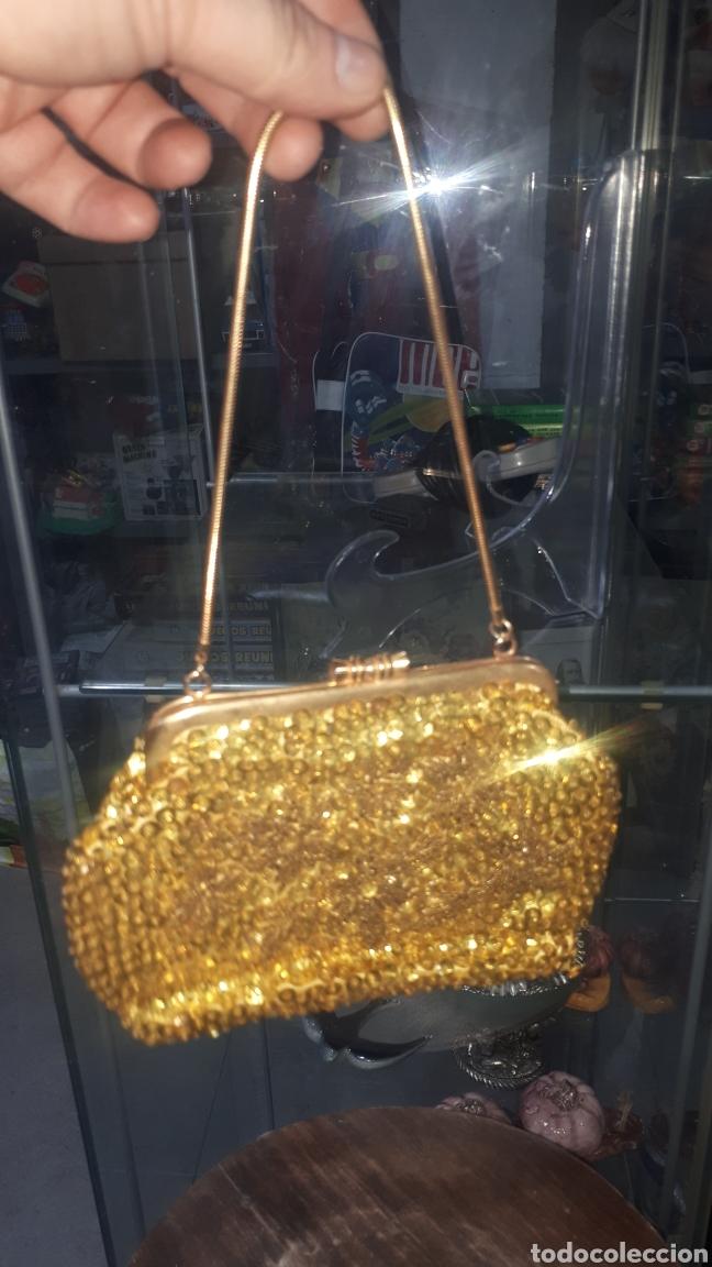 Vintage: Original bolso de mano dorado con lentejuelas años 70 made in HONG KONG - Foto 2 - 207978185