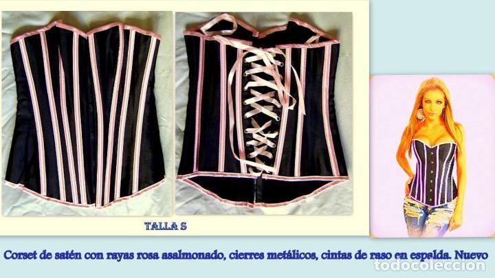 CORSET DE SATÉN Y RASO TALLA S. TANGA A JUEGO. NUEVO (Vintage - Moda - Mujer)