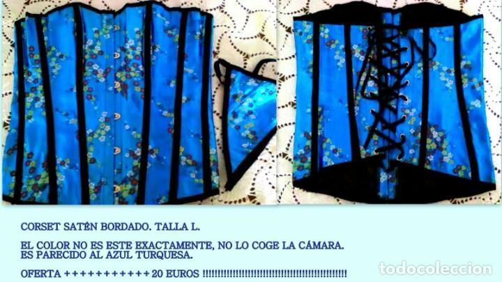 CORSET AZUL CON BORDADOS ASIÁTICOS, SATÉN Y RASO. TANGA A JUEGO. TALLA L. NUEVO. (Vintage - Moda - Mujer)