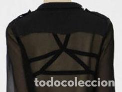 Vintage: SUJETADOR EXTERIOR CON REMACHES PUNTIAGUDOS DORADOS, TIRANTES CRUZADOS. TALLA 80. NUEVO - Foto 2 - 210790285