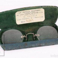 Vintage: ANTIGUAS GAFAS / ANTEOJOS EN SU CAJA ORIGINAL - LA ÓPTICA MODERNA M. FLORIT, BARCELONA. Lote 210822687