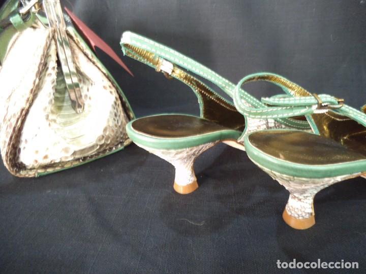Vintage: ZAPATOS DE PITÓN VERDE ESMERALDA - Foto 10 - 211509875