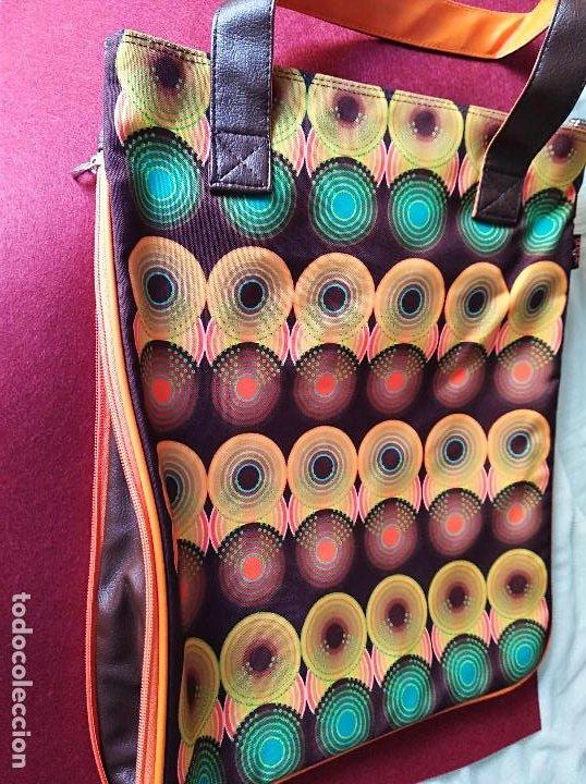 Vintage: BOLSO VINTAGE COMBINADO DE TELA Y POLIPIEL - Foto 3 - 213857990